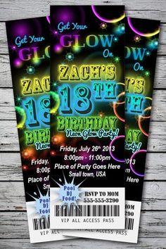 Neon Glow Birthday Party Invitation Ticket Stub in The Dark Bracelet Necklace   eBay