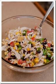 Staple to-go lunch: Chicken, black bean, corn, salsa,  avocado salad. Make into a lettuce wrap. Use rotisserie chicken.
