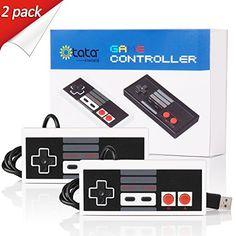 kiwitatá Classic FC NES USB Game Controller USB PC Controllers Mac Joystick (White/Red Keys 2 Pack)