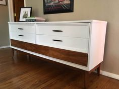 Items similar to SOLD: White Midcentury Low Dresser / Changing Table / Buffet / Chalk Paint / Annie Sloan / / Sideboard / Credenza on Etsy Refurbished Furniture, Upcycled Furniture, Vintage Furniture, Painted Furniture, Low Dresser, Changing Table Dresser, Dressers, Dixie Furniture, Furniture Makeover