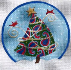 Paisley Tree in blues needlepoint canvas from juliemardesigns.com