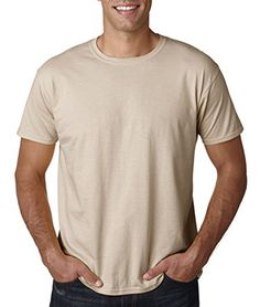 "Gildan Men's Softstyle Ringspun T-shirt - XX-Large - Sand:   100% preshrunk ringspun cotton. Dark Heather Heather Irish Green Heather Military Green are 65/35 cotton poly. Heather Navy Heather Orange Heather Purple Heather Royal -65/35 cotton poly. Antique Cherry Red Antique Heliconia Antique Sapphire and Sport Grey are 90/10. "" rib knit collar. double-needle stitched sleeves and bottom hem. taped neck and shoulders."