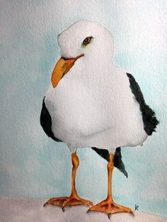 watercolor bird painting bird art original watercolor Seagull by bMoorearts on Etsy