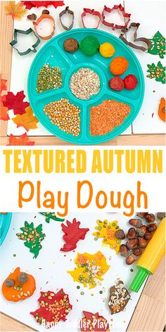 Textured Autumn Play Dough Textured Autumn Play Dough - HAPPY TODDLER PLAYTIME Set up this fun textured Autumn play dough invitation for your toddler or preschooler to explore the textures and colours of Fall! Fall Sensory Bin, Sensory Bins, Sensory Play, Sensory Rooms, Sensory Table, Autumn Crafts, Fall Crafts For Kids, Toddler Preschool, Toddler Crafts