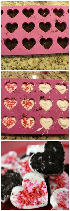 These White Chocolate Oreo Hearts are perfect for Valentine's Day - Three ingredients and they take no time at all! Valentine's Day is around the corner and I am always looking for some new fun (and of Valentines Day Desserts, Valentine Treats, Valentine Day Crafts, Holiday Treats, Holiday Recipes, Valentines Baking, Valentine Cake, Holiday Fun, White Chocolate Oreos