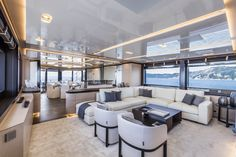 As the first yacht launched under ownership of Palumbo, the ISA Sport 120 has a split-level master suite, a full-featured sky bridge, and a solarium. Luxury Yacht Interior, Boat Interior, Luxury Yachts, Blockchain, Cannes, Living Room Furniture, Home Furniture, Monaco, Yatch Boat