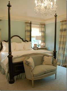Soft blue bedroom with gorgeous draperies. I like the setee and the chandelier. Blue Green Bedrooms, Bedroom Green, Cozy Bedroom, Dream Bedroom, Home Decor Bedroom, Master Bedroom, Bedroom Ideas, Peaceful Bedroom, Bedroom Colors