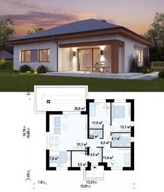 Most Popular simple bungalow house design 65 ideas Simple Bungalow House Designs, Modern Bungalow House, Bungalow House Plans, Small Modern House Plans, Modern Small House Design, Beautiful House Plans, House Layout Plans, Dream House Plans, House Layouts
