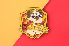 If you love Harry Potter and pugs, you will surely love this Pugffindor enamel…