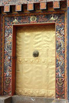 Painted door. Bhutan