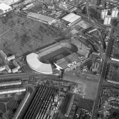 Aerial view of Celtic Park in the Retro Football, Vintage Football, Football Soccer, Celtic Fc, Football Pictures, Aerial View, Glasgow, City Photo, History