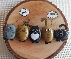 """Find and save images from the """"Kreativ - Rock / Stone / Pebble Art"""" collection by Gabis Welt :) (gabi_zitzen) on We Heart It, your everyday app to get lost in what you love. Cat Crafts, Diy And Crafts, Crafts For Kids, Arts And Crafts, Pebble Painting, Pebble Art, Stone Painting, Stone Crafts, Rock Crafts"""