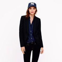 NEW $248 J.Crew Women's Wool Blazer, Size 4 BLACK 03902 Casual Work Solid Shawl…