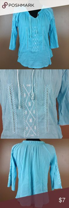 FINAL PRICE Embroidered Peasant Top Size small. Their is no brand of fabric tag existing on the blouse.   Add to a bundle for an automatic discount.   If you bundle tour likes together I can send you a private discounted offer, just let me know!  #H016 undefined Tops