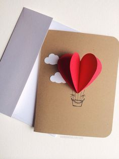 Heart Hot Air Balloon Card от theadoration на Etsy