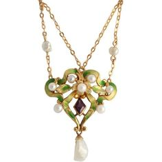 Preowned Art Nouveau Enamel Garland Necklace With Pearls & Amethyst ($2,500) ❤ liked on Polyvore featuring jewelry, necklaces, purple, amethyst pearl necklace, 14k necklace, purple amethyst necklace, purple necklace and pearl chain necklace