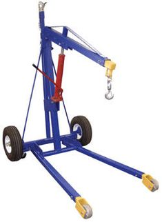 """Unique hoist may be towed behind a car or truck to job site and then used for hundreds of applications. Includes a class 2 ball coupler and safety chains for use with most common hitches. Features (2) large 18"""" diameter pneumatic wheels, (2) swivel casters 4"""" x 2"""" in rear, (2) rigid 5"""" x 2"""" in front and one swivel clevis hook with safety latch at the end of the boom. Telescoping lift arm and legs and a removable jack handle standard. Welded steel construction with painted finish."""