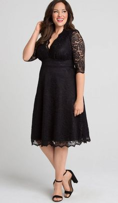 Black Lace Little Black Dress Plus Size.- This LBD plus size A-line midi dress will have all eyes on you. With gorgeous scalloped lace and classic A-line skirt, you'll feel exquisite no matter the occasion with a little black dress in a classic style. Available exclusively in women's plus sizes.