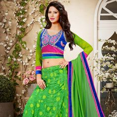 Green Viscose Faux Georgette Lehenga Choli with Dupatta