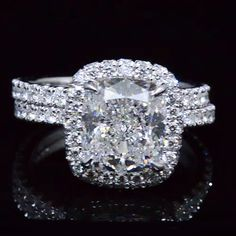 4.20 Ct. Cushion Cut Diamond Halo Engagement Ring Set E,SI1 GIA - Recently Sold Engagement Rings
