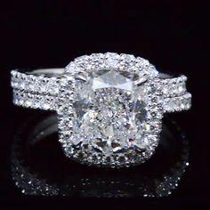4.20 Ct. Cushion Cut Diamond Halo Engagement Ring Set E,SI1 GIA - Recently Sold Engagement Rings anillos de compromiso | alianzas de boda | anillos de compromiso baratos http://amzn.to/297uk4t