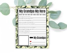Fathers Day Gift- Grandpa Questions- Fathers Day Questionaire- Grandpa from Kids- Gifts to Daddy- Military Family- INSTANT DOWNLOAD
