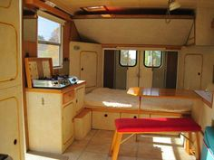 Check out this converted maintenance van... cool huh!? A 1986 GMC Vandura G-3500 cube van converted to a camper with a spacious feel.