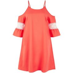 New Look AX Paris Coral Cold Shoulder Swing Dress ($33) ❤ liked on Polyvore featuring dresses, coral, long-sleeve mini dress, summer mini dresses, swing dress, boho summer dresses and sleeved dresses