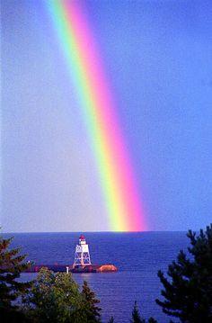 Great Marais Harbor lighthouse, Lake Superior, Minnesota; photo by .Michael Maltese