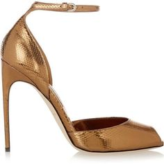 Brian Atwood Oriana metallic watersnake sandals (915 RON) ❤ liked on Polyvore featuring shoes, sandals, heels, metallic, metallic high heel sandals, metallic heel sandals, metallic strappy sandals, heeled sandals and ankle wrap sandals #brianatwoodheelsstrappysandals #brianatwoodoriana #strappysandalsheels