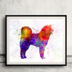 Akita Inu 01 in watercolor Fine Art Print by AnimalArtPosters