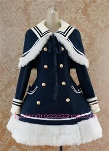 Navy blue Wool Blended Cap Shoulder Long Sleeves Wool Trim Lolita Coat