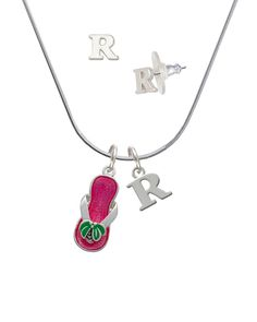 Silvertone Hot Pink Palm Tree Flip Flop - R Initial Charm Necklace and Stud Earrings Jewelry Set *** Click on the image for additional details. (This is an affiliate link) #JewelryLover
