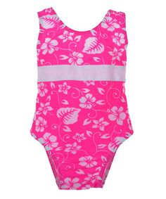 This Pink & White Hawaiian Floral One-Piece - Infant & Toddler by Babi-Kini is perfect! #zulilyfinds