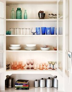 Nightwood, a Brooklyn design firm, furnished Aya Yamanouchi Lloyd's living room in her Boerum Hill home with reworked vintage pieces: a chaise Kitchen Cupboard Colours, Kitchen Cupboards, Kitchen Dining, Open Cabinets, Kitchen Pantry, Glass Cabinets, Kitchen Ideas, Open Shelving, Kitchen Interior
