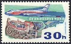 Sello: Tupolev 104 (Checoslovaquia) (50 Years Of Aviation) Mi:CS 2166,Sn:CS C77,Yt:CS 2011,AFA:CS 2010,POF:CS L74