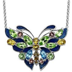 Lord & Taylor Men's Multi-Stone Butterfly Necklace in Sterling Silver ($160) ❤ liked on Polyvore featuring men's fashion, men's jewelry, men's necklaces, sterling silver, mens watches jewelry, mens sterling silver cross pendant, mens pendants, mens pendant necklace and mens necklaces