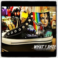 Mj on Shoes Michael Jackson Fans High-top Painted Canvas Shoes Custom Converse, Custom Sneakers, Custom Shoes, Nike Custom, Michael Jackson Shoes, Michael Jackson Merchandise, Super Mario, Michael Jackson Wallpaper, Painted Canvas Shoes
