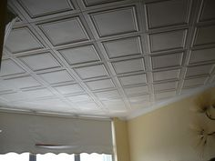 p Embossed polystryrene foam ceiling tiles are easy to install
