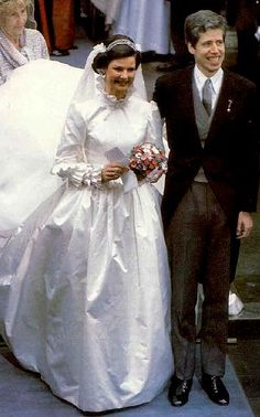 HRH Princess Margaretha of Luxembourg and Prince Nikolaus wedding, 1982. Just a year after her brother, Henri, married, his sisters Princesses Marie-Astrid and Margaretha were both married within weeks of each other.