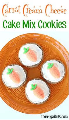 Carrot Cream Cheese Cake Mix Cookies Recipe - from TheFrugalGirls.com