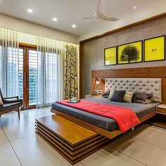 Madhuvan Bungalow Design by 3 Square Design Apartment Bedroom Design, Bedroom Furniture Design, Bed Furniture Design, Indian Bedroom Design, Bed Design Modern, Modern Bedroom Interior, Interior Design Bedroom, Bedroom Bed Design, Bedroom False Ceiling Design
