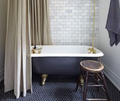 Vintage tub, brass rod and fixtures