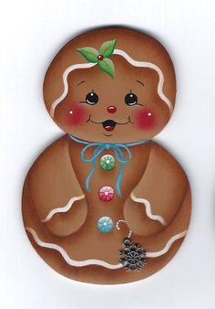 HP GINGERBREAD Roly Poly with Snowflake FRIDGE MAGNET Handpainted by stonehouse28 Christmas Paintings, Christmas Art, Winter Christmas, Christmas Themes, Christmas Cookies, Holiday Crafts, Christmas Decorations, Christmas Ornaments, Xmas