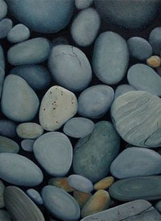 Paintings by Jane Brookes: Bowen Island Beach Stones. Beach Stones, Blue Stones, River Stones, Gem Stones, Bowen Island, Love Rocks, Beautiful Rocks, Rock And Pebbles, Landscaping With Rocks