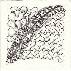 Ein Zentangle aus den Mustern Esses, Longtude, Skwim,  gezeichnet von Ela Rieger, CZT