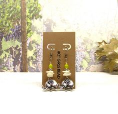 Handmade Silver Elephant Lime Green Earrings Jewelry by SeedDreams, $25.00