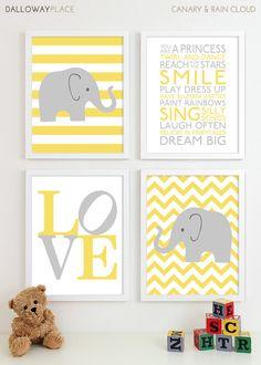 Baby Girl Nursery Art Chevron Elephant Nursery Prints, Kids Wall Art Baby Girls…