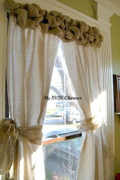 Burlap Wreath Trimmed Drop Cloth Curtains! - My 1929 Charmer