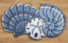 "Seashell Trio Decorative Tropical Nautical Rug 28"" x 18"" Bathroom Decor New Home"